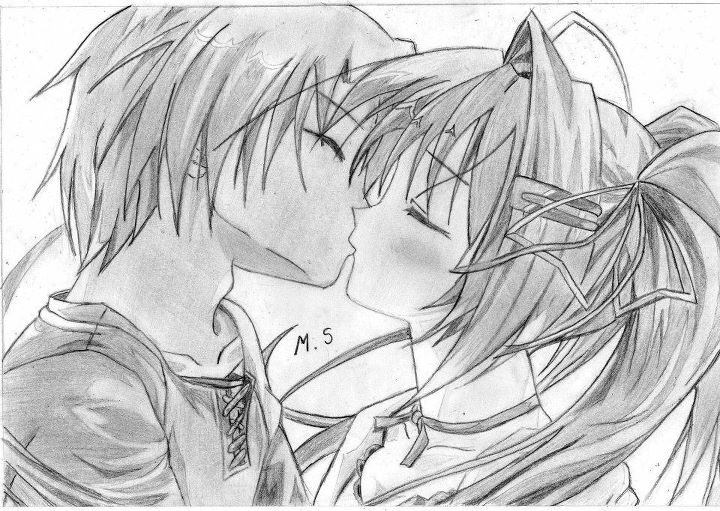 dibujos de amor para mi novio y besandose